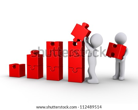 Two 3d persons are building a red graph made of puzzle pieces - stock photo