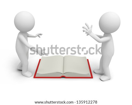 Two 3d persons discussing ,an opened book between them - stock photo