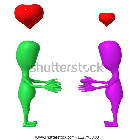 Two 3d puppet have feelings to each other - stock photo
