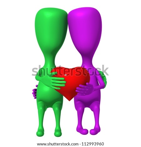 Two 3d puppet share one small heart together - stock photo