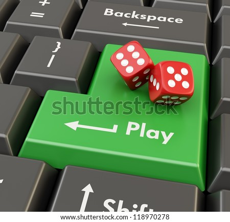 two 3d red game dices on green keyboard button - online casino concept - stock photo