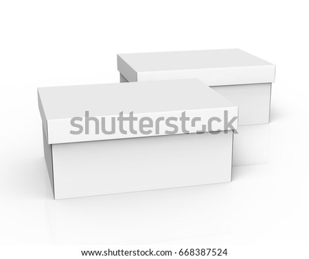 two 3d rendering left tilt blank white paper closed boxes for design use, isolated white background, elevated view