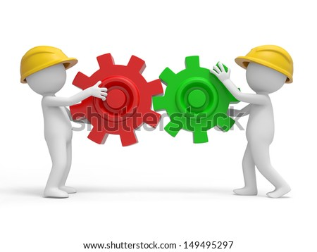 Two 3d safety workers carrying the puzzles