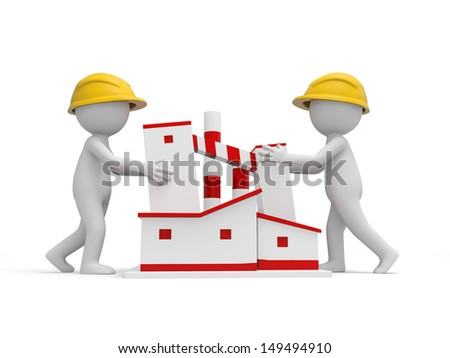 Two 3d safety workers pushing a building - stock photo
