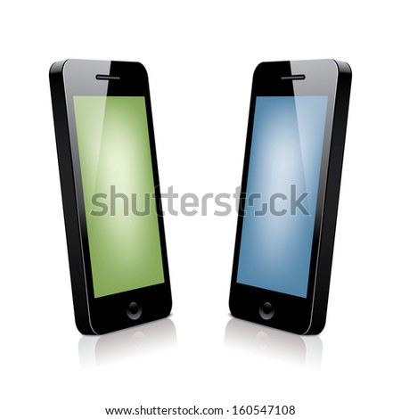 two 3d smartphones.  illustration(rasterized version) - stock photo