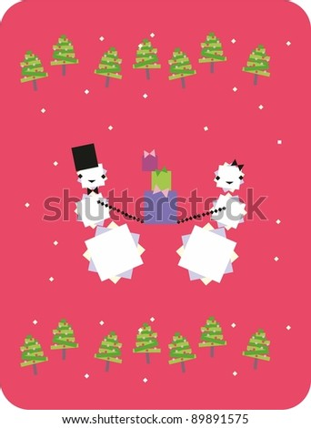 Two dancing snowman - stock photo