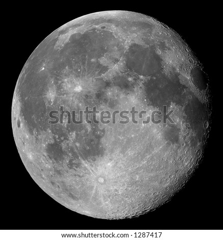 Two days after full, the Moon in its waning gibbous phase - stock photo