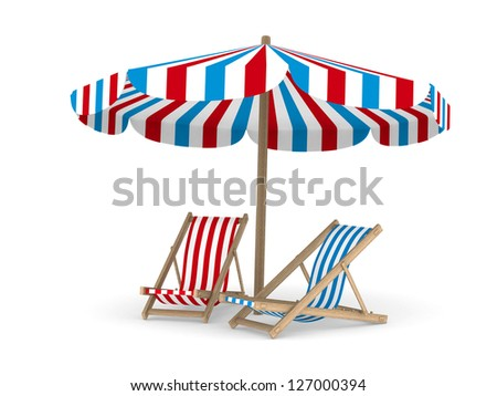 Two deckchair and parasol on white background. Isolated 3D image - stock photo