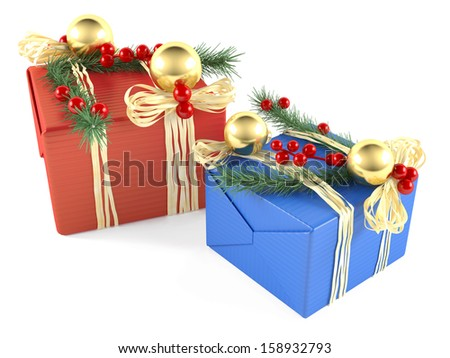 Two decorated christmas gift box isolated