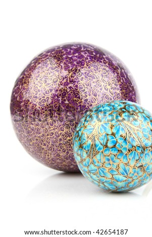 Two decorative balls on white background