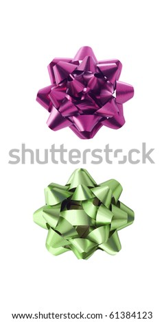 Two decorative ribbons, on white background. - stock photo