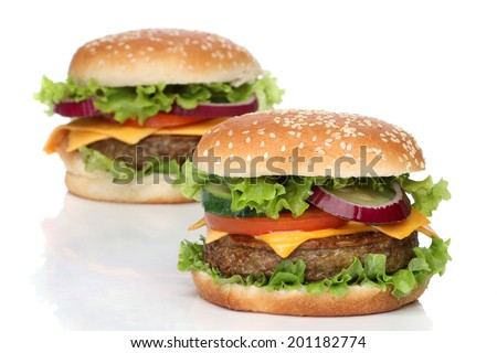 Two delicious hamburgers isolated on white background - stock photo