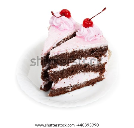Two delicious pieces of chocolate cake with cherry cream and canned cherries on a white plate, close-up. - stock photo