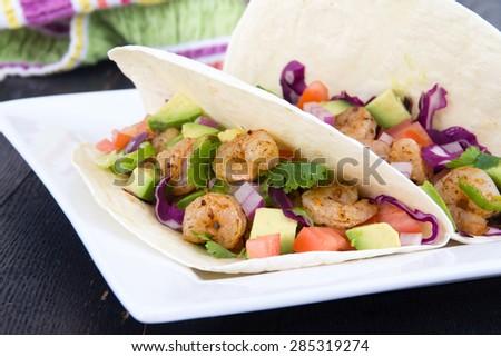two delicious shrimp tacos  - stock photo