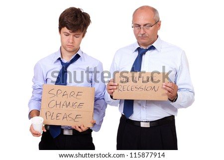 Two depressed businessmen in blue shirts holding a cardboard and asking about help after recession, isolated on white background - stock photo