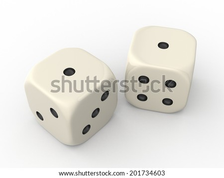 Two Dice Cubes showing One Point