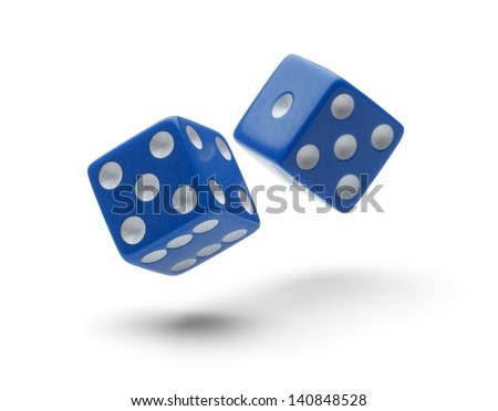 Two Dice Rolling through the Air Isolated on White Background with Shadows. - stock photo