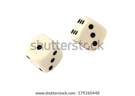 Two dices isolated on white - stock photo
