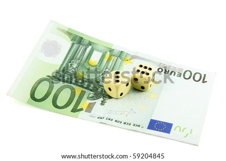Two dices on a 100 euro banknote