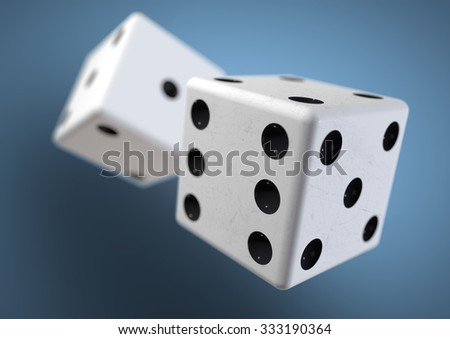 Two die (dice) captured rolling in mid air while being thrown in casino, board game or gambling. Taking a chance on a bet.