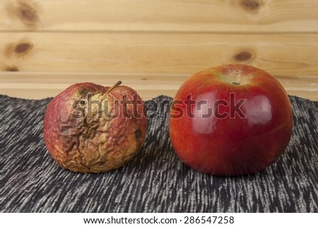 Two different apples, fresh and withered. Moldy apple as concept of skin problems. Rotten apple. - stock photo