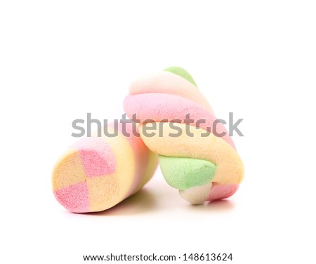 Two different colorful marshmallow. Close up. - stock photo