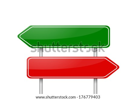 Two different direction arrow road signs red and green