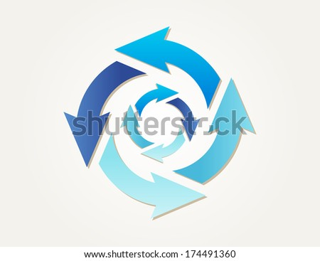 two different gradient circles of arrows with different blue colors