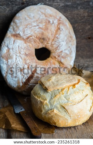 Two different kinds of homemade bread, selective focus - stock photo