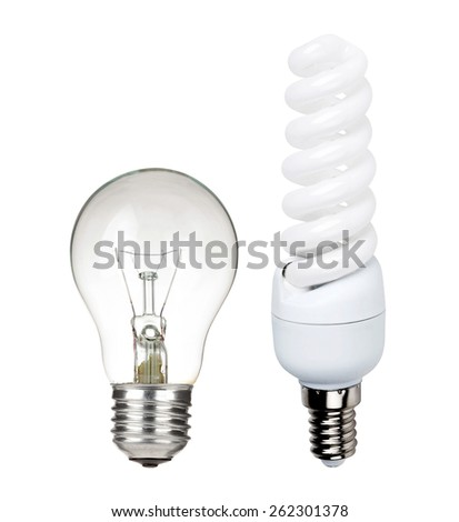 two different light bulbs - stock photo