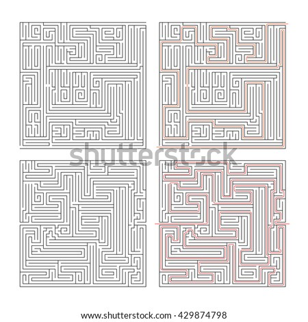 Two different mazes of high complexity on white and solution with red paths - stock photo