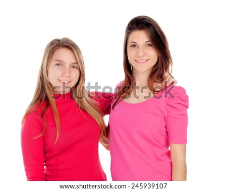 Two different sisters isolated on a white background
