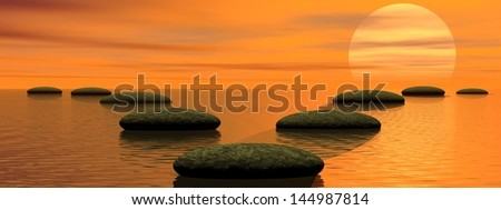 Two different ways, one leading to sun and the other towards sky - stock photo