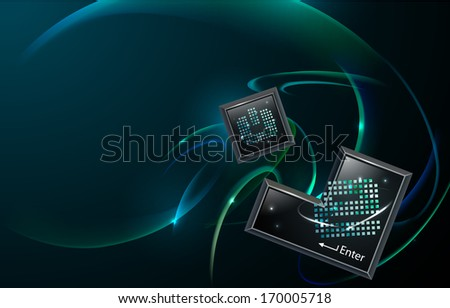 Two digital blocks with a blue and green swirled background.