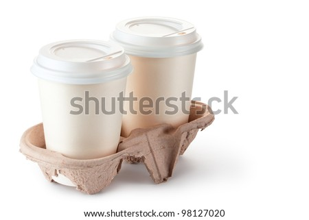 Two disposable coffee cups in cardboard holder. Isolated on a white.