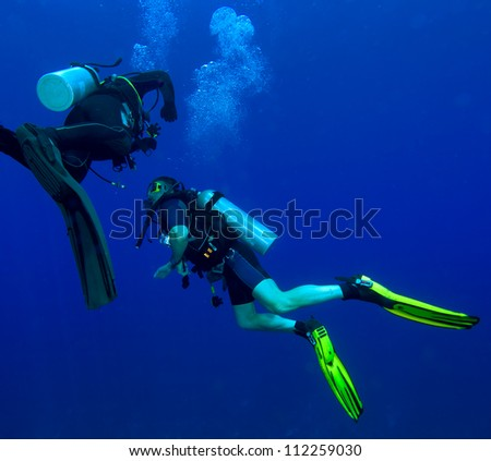 Two divers with air-bublles - stock photo