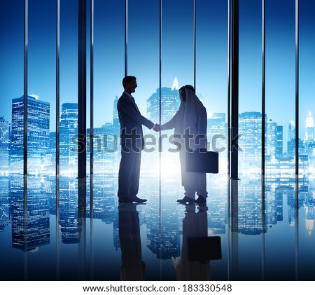 Two Diverse Businessmen Shaking Hand in New York - stock photo