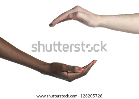 Two diverse hand as if holding an invisible object over a white background
