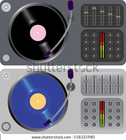 two dj turntables isolated on white - stock photo