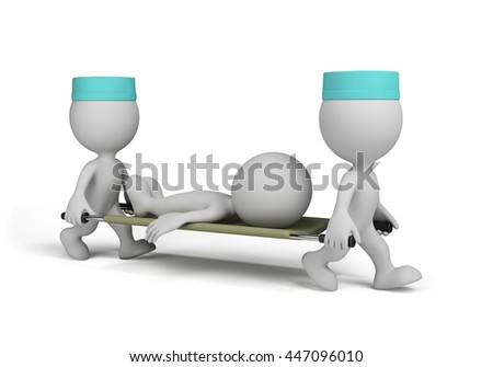 Two doctors carry seriously ill on a stretcher. 3d image. White background.