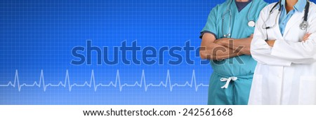 Two Doctors, male and female, over a Health Care background with EKG graph. Suitable for medical web sites with room for your copy. - stock photo