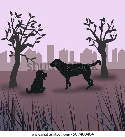 Two dogs in a meadow with some trees, and a skyline in the background, at night.