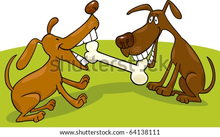 two dogs playing with bone - stock photo