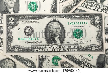Two dollar bill issued in 1976 to commemorate the bicentenary U.S. - stock photo