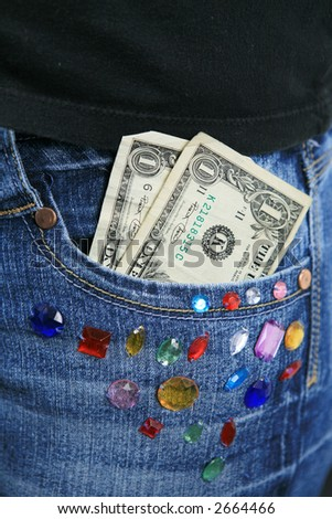 Two dollars in girls pants pocket