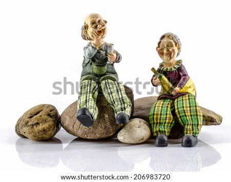 Two dolls which made like grand mom & grand dad - stock photo