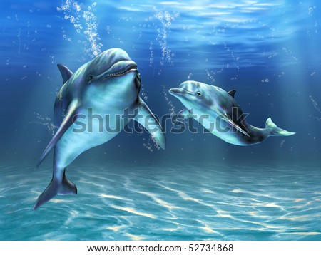 Two dolphins happily swimming in the ocean. Digital illustration - stock photo