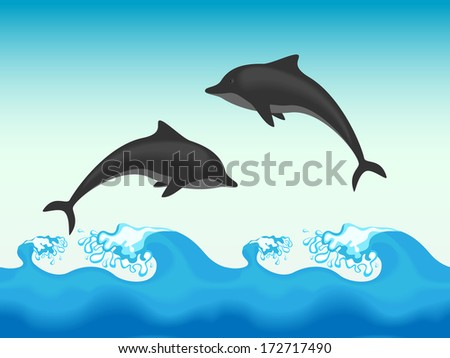 Two dolphins jumping in sea. Raster version, vector file also included