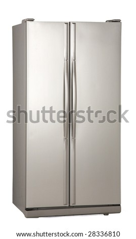 two door freezer with the clipping path - stock photo