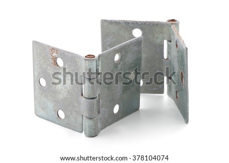 Two door hinges isolated on white background. - stock photo